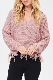 Main Strip Frayed V Neck Sweater - Front cropped