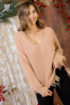 Main Strip Frayed Vneck Sweater - Alternate List Image