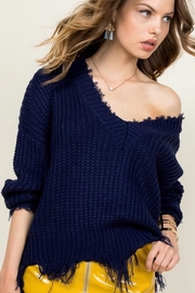 Main Strip Frayed Vneck Sweater - Product Mini Image