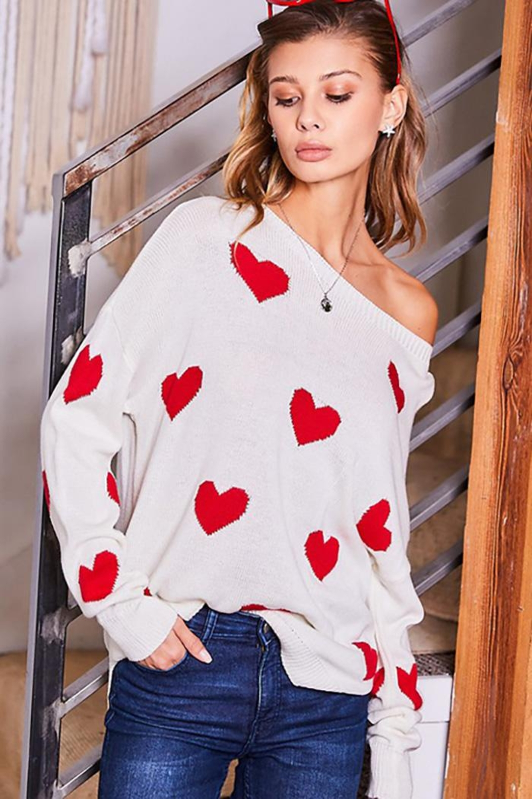 Main Strip Heart Print Long Sleeve Sweater - Front Full Image