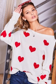 Main Strip Heart Print Long Sleeve Sweater - Product Mini Image