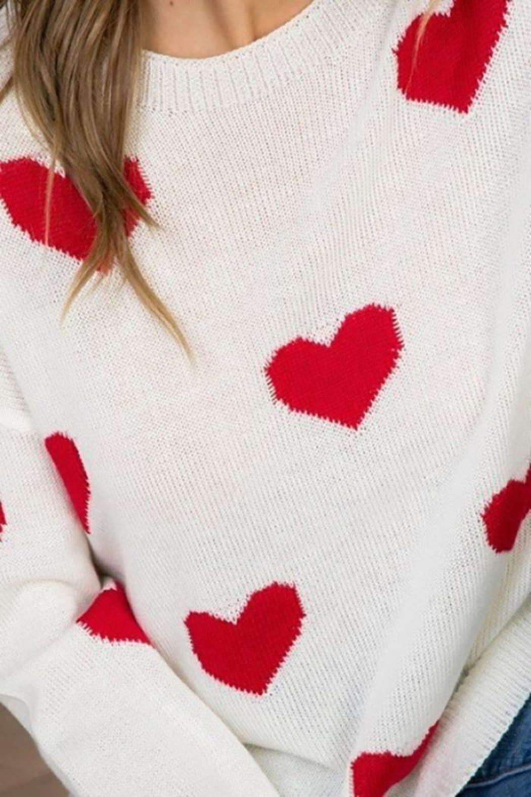 Main Strip Heart Print Long Sleeve Sweater - Side Cropped Image