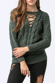 Main Strip Lace Up Sweater - Front cropped