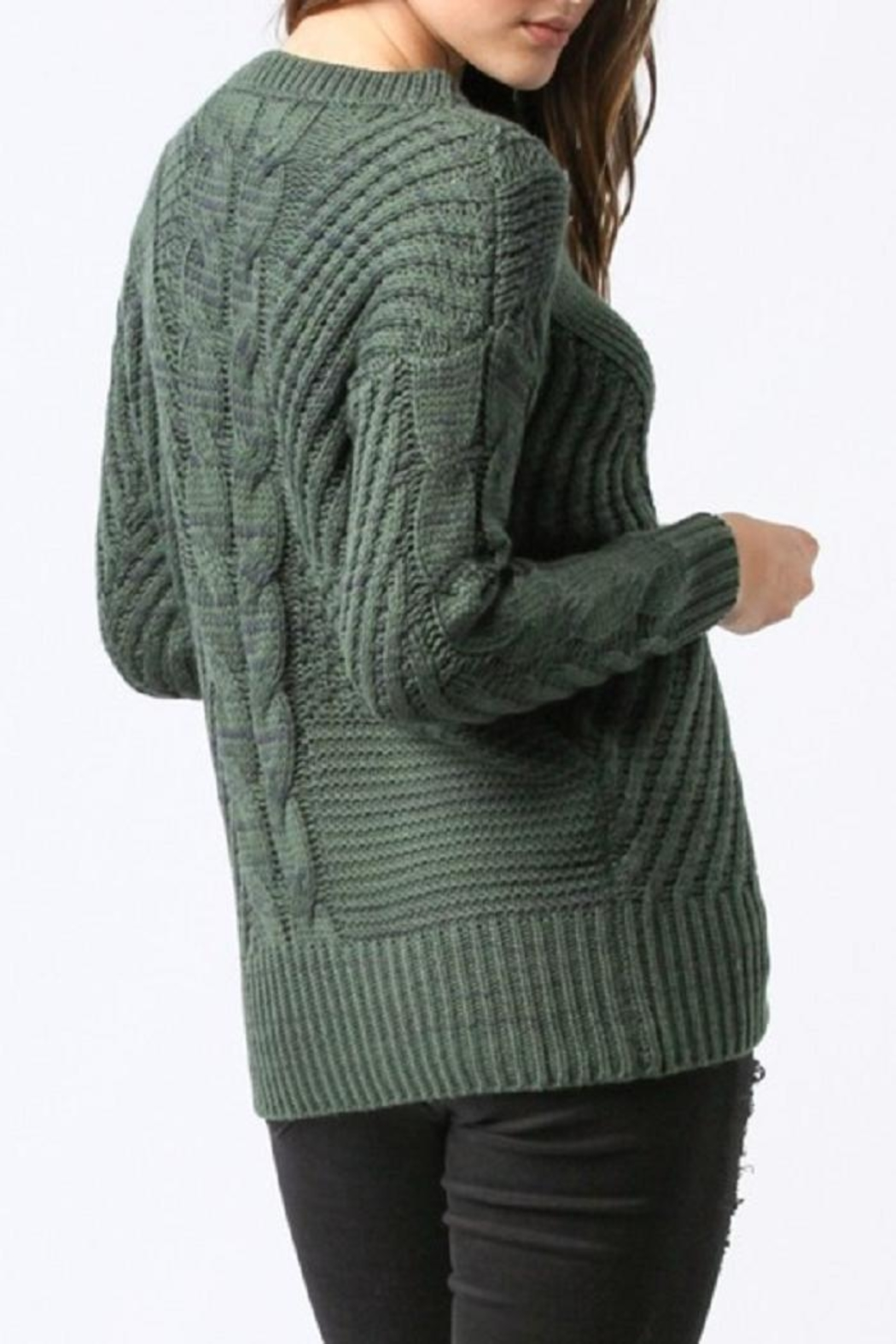 Main Strip Lace Up Sweater - Front Full Image