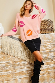 Main Strip Long Sleeve Allover Lip Sweater Off Shoulder V Neck - Other