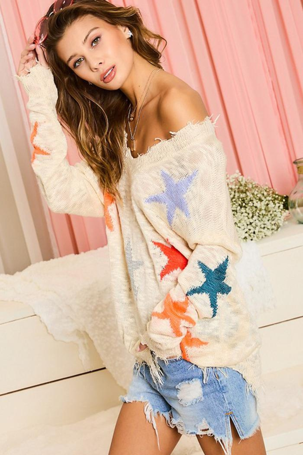 Main Strip Multicolor Star Distressed Detail Sweater Jumper Pullover - Side Cropped Image