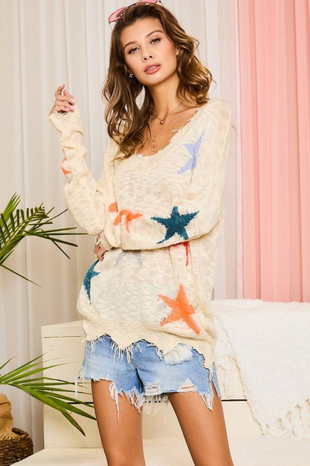 Main Strip Multicolor Star Distressed Detail Sweater Jumper Pullover - Back Cropped Image
