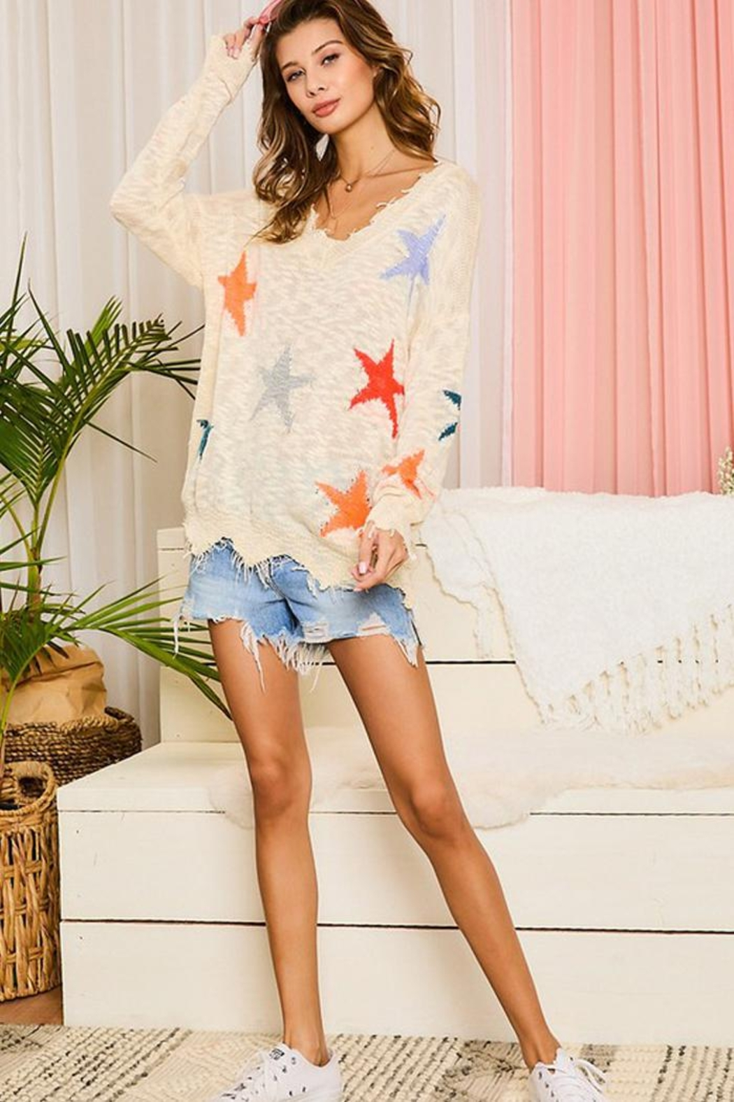 Main Strip Multicolor Star Distressed Detail Sweater Jumper Pullover - Front Full Image