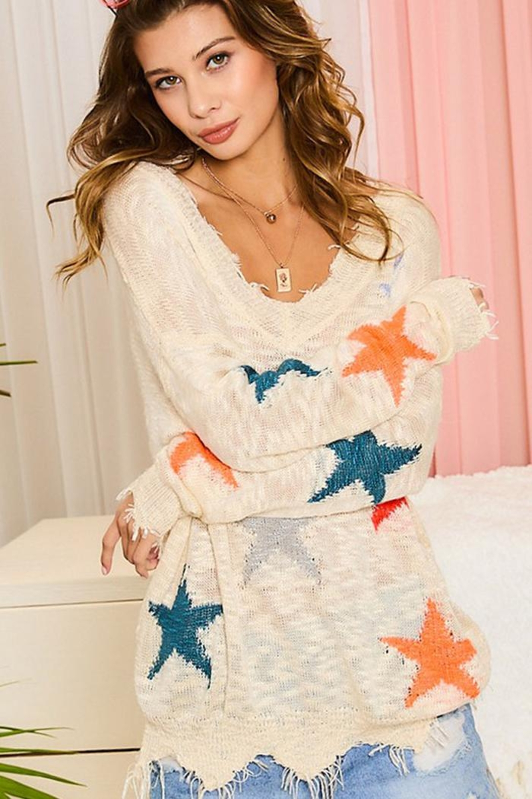 Main Strip Multicolor Star Distressed Detail Sweater Jumper Pullover - Main Image