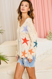 Main Strip Multicolor Star Distressed Detail Sweater Jumper Pullover - Other