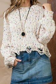 Main Strip Polka Dot Crop Sweater - Product Mini Image