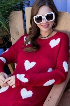 Main Strip Red Heart Sweater - Alternate List Image