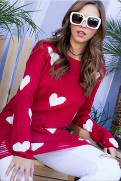 Main Strip Red Heart Sweater - Product List Image