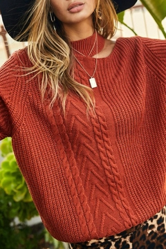 Main Strip Reyna Cold Shoulder Sweater - Product List Image