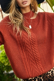 Main Strip Reyna Cold Shoulder Sweater - Front cropped