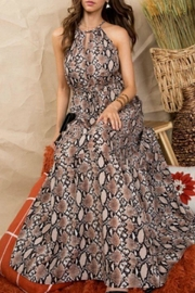Main Strip Snakeskin Maxi Dress - Front cropped