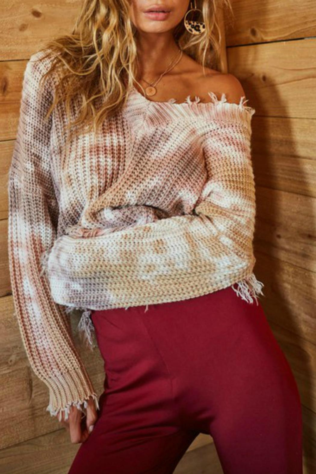 Main Strip Tie Dye Distressed Sweater - Back Cropped Image