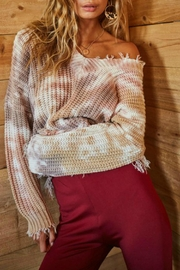 Main Strip Tie Dye Distressed Sweater - Back cropped