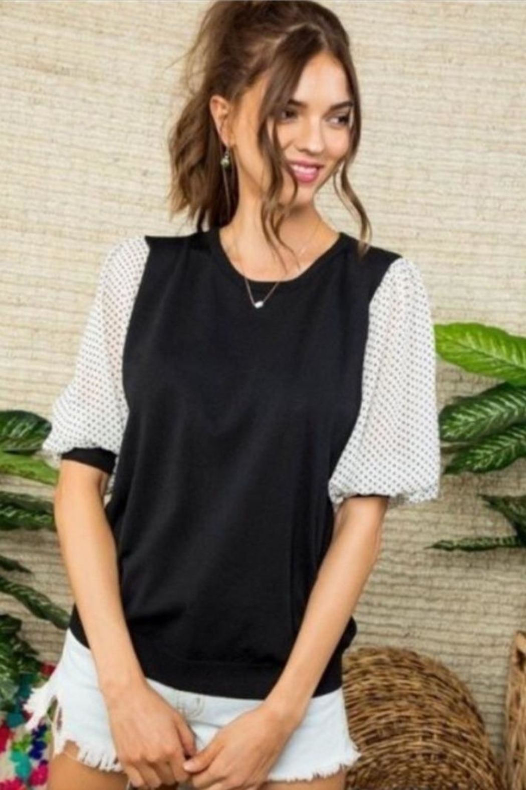 Mainstrip Black Knit Top - Front Cropped Image