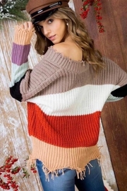 Mainstrip Colorblock Frayed-Hem Sweater - Product Mini Image