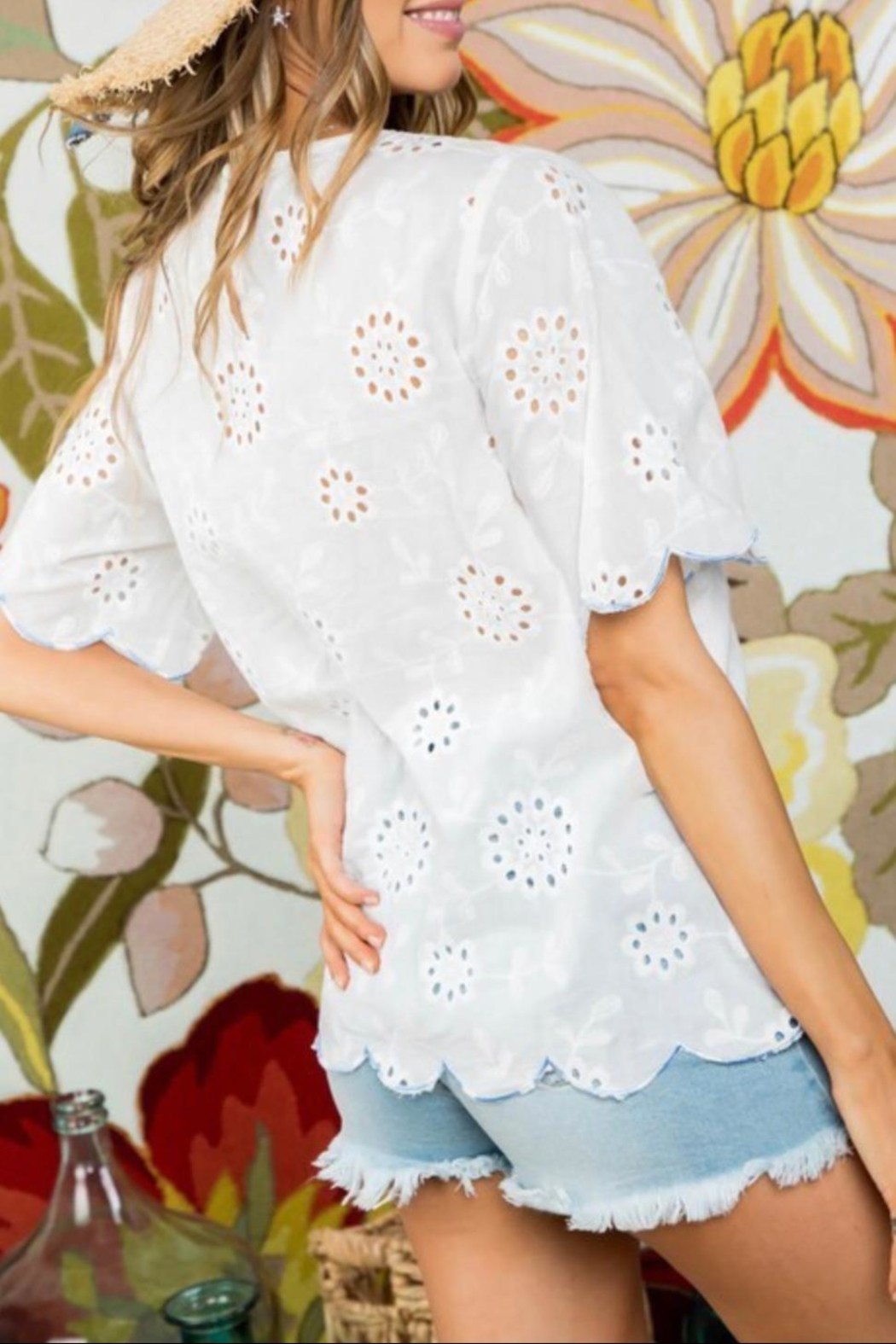 Mainstrip Embroidered Cotton Top - Front Full Image