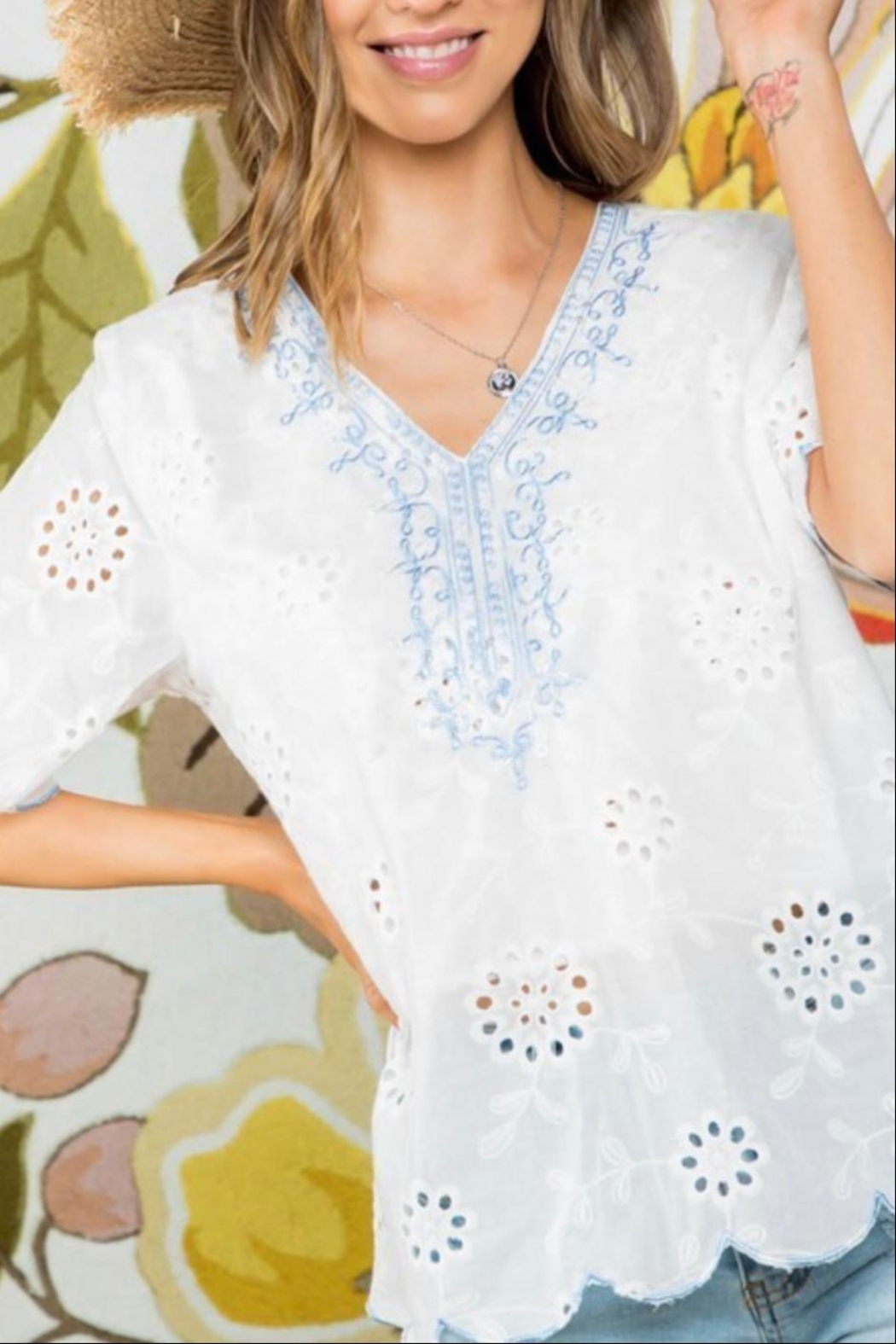 Mainstrip Embroidered Cotton Top - Back Cropped Image