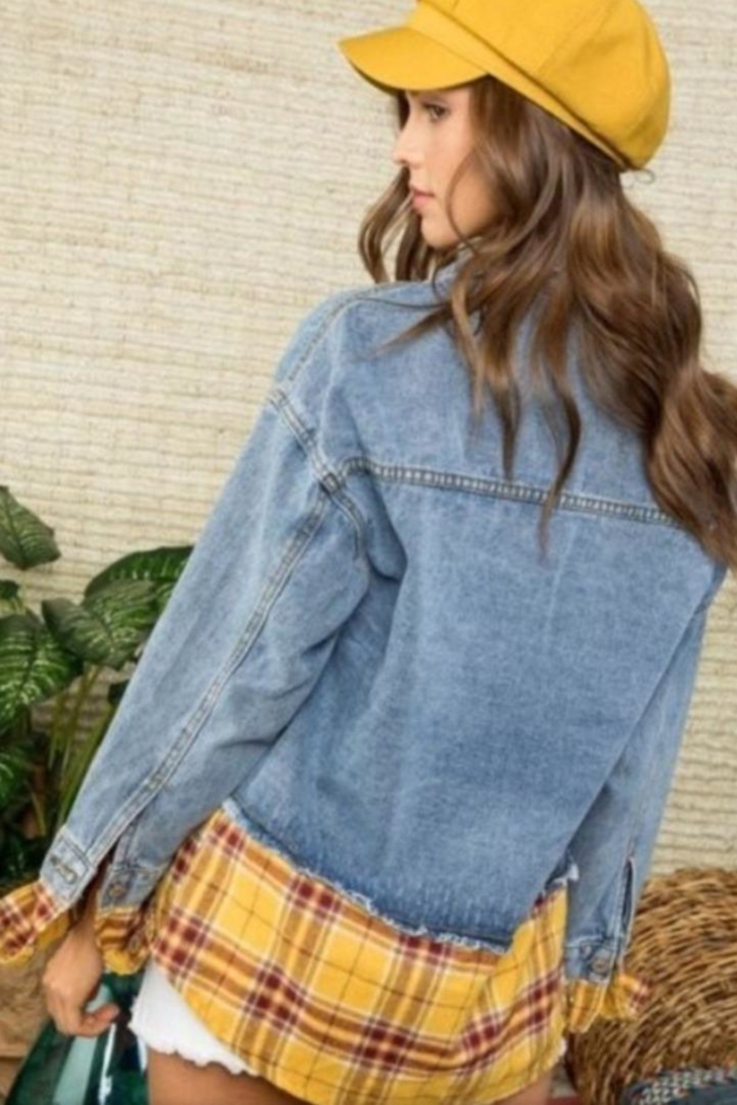 Mainstrip Plaid Jean Jacket - Front Full Image