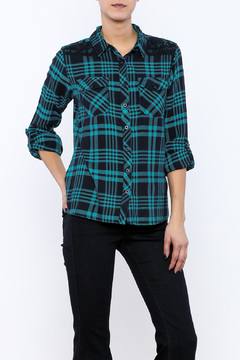 Maison Coupe Teal Plaid Button Up - Product List Image
