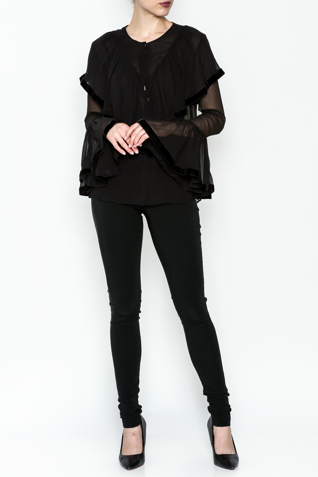Maison Pere Crinkle Sheer Blouse - Side Cropped Image