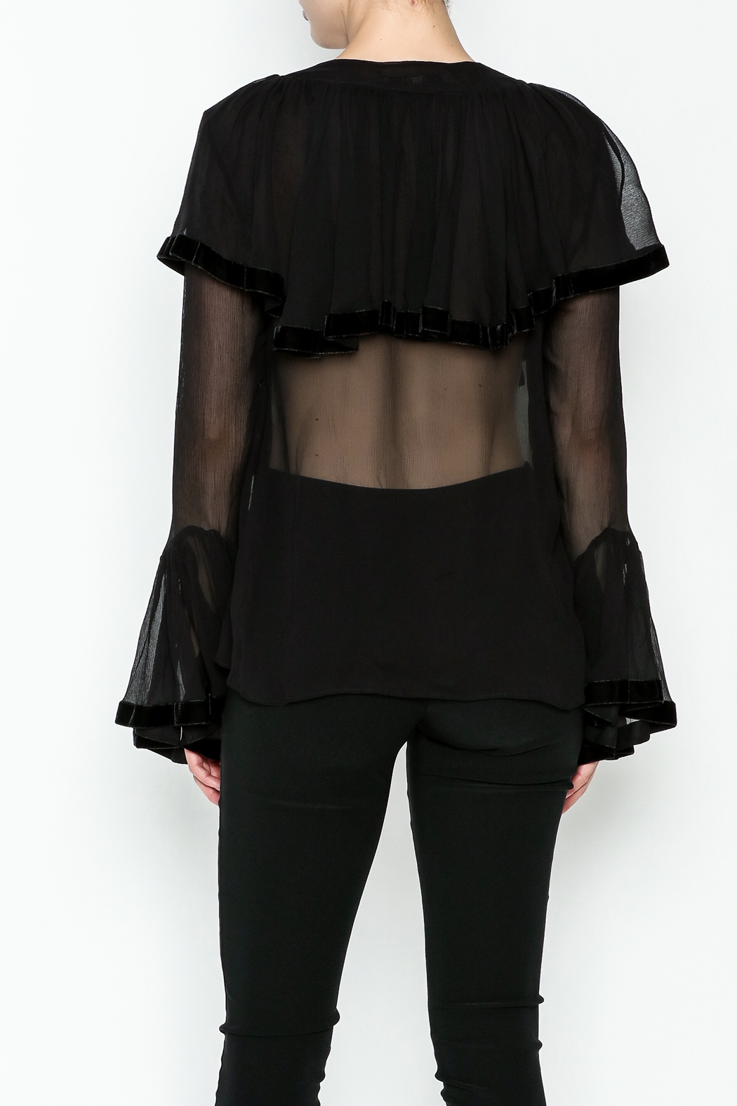 Maison Pere Crinkle Sheer Blouse - Back Cropped Image