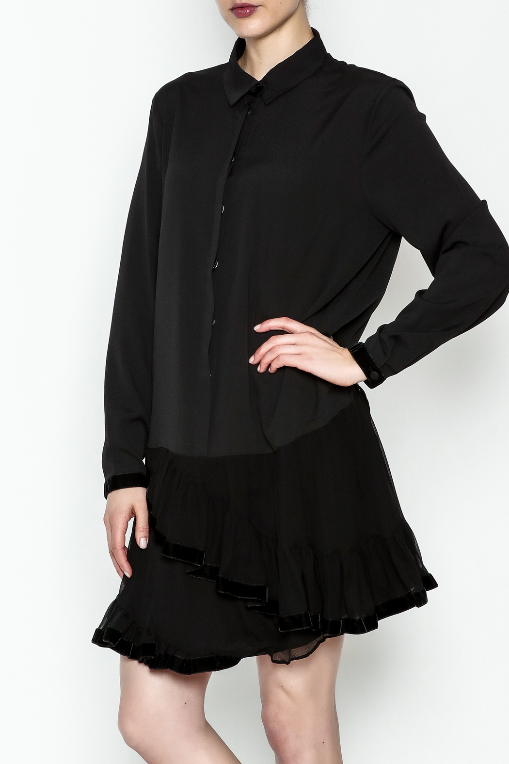 Maison Pere Long Sleeve Ruffle Dress - Front Cropped Image