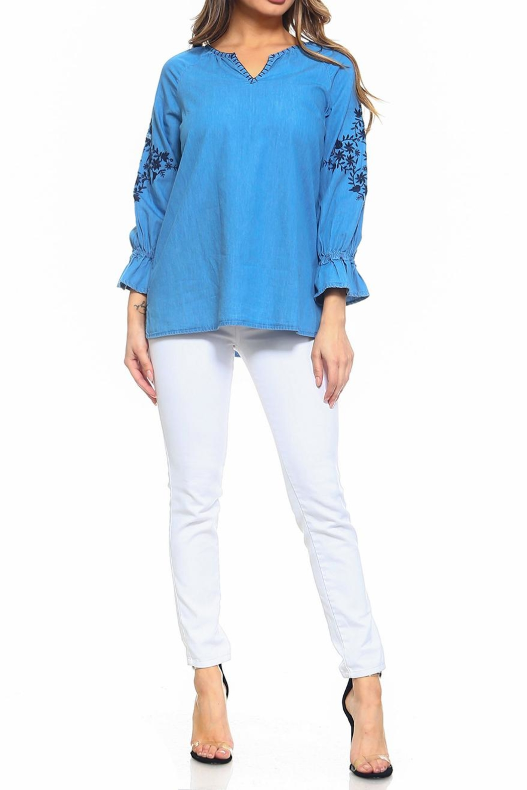 Maison Coupe Denim Embroidered Top - Front Full Image