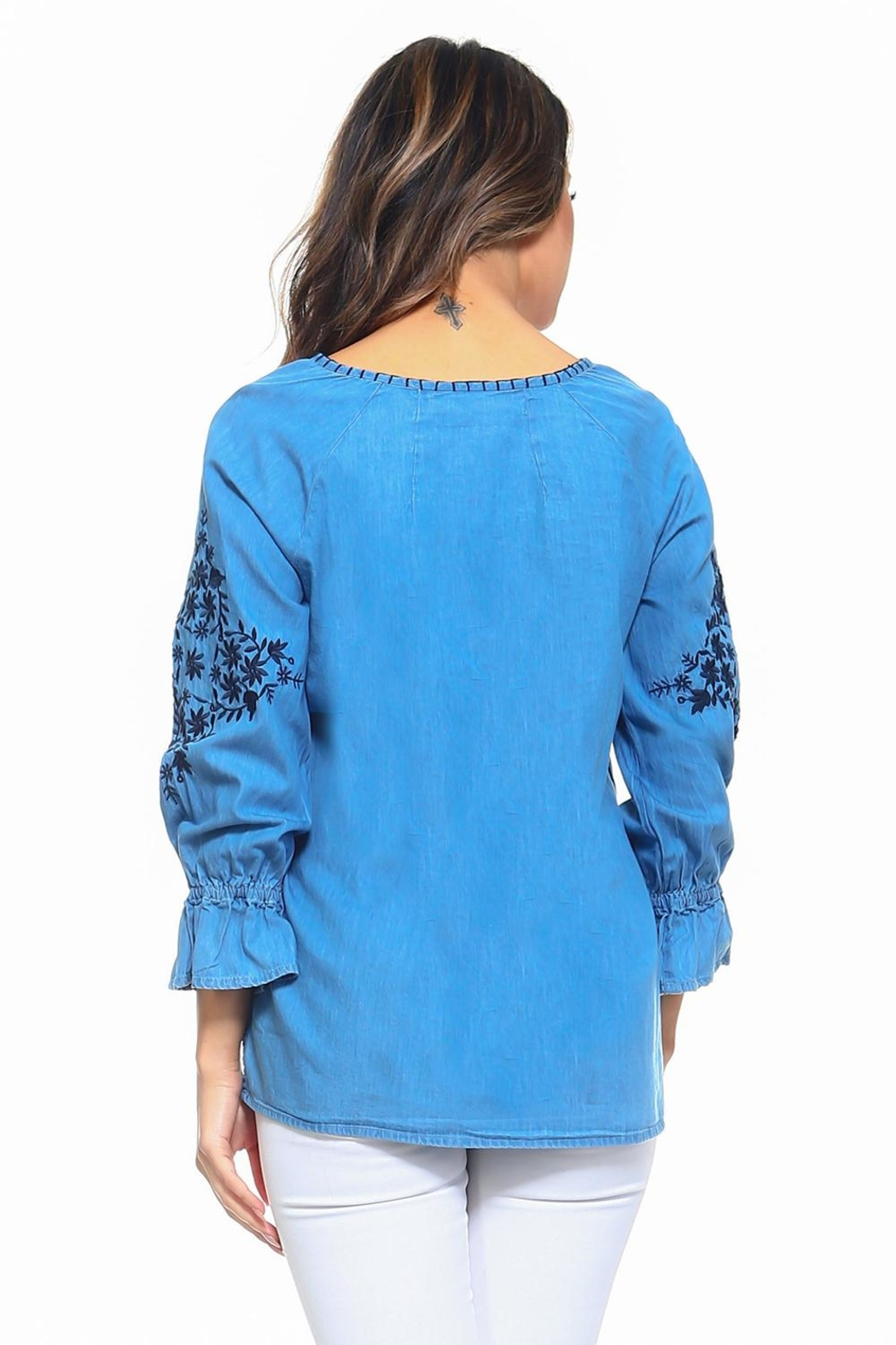 Maison Coupe Denim Embroidered Top - Back Cropped Image