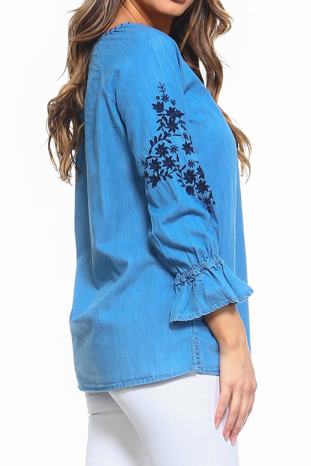 Maison Coupe Denim Embroidered Top - Side Cropped Image