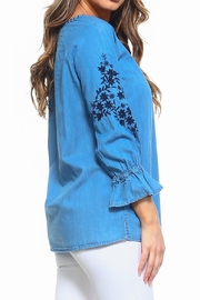 Maison Coupe Denim Embroidered Top - Side cropped
