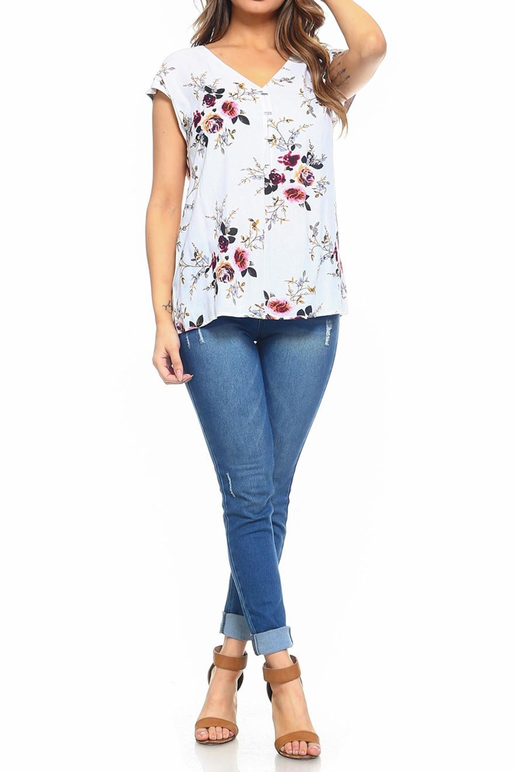 Maison Coupe Floral Top - Front Full Image