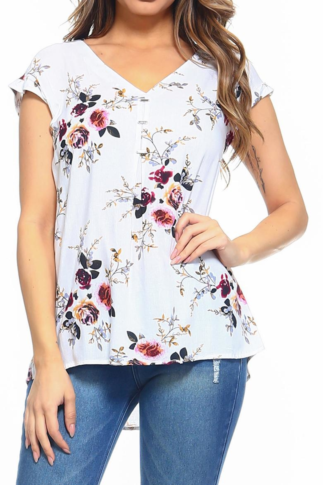 Maison Coupe Floral Top - Front Cropped Image