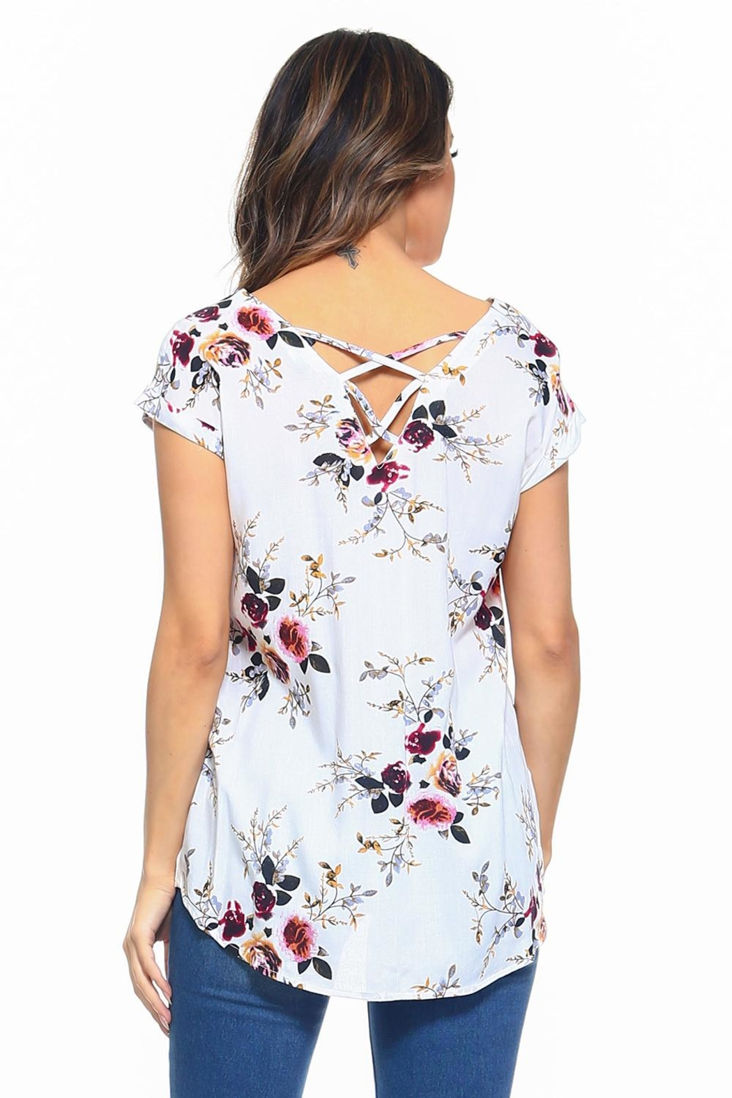 Maison Coupe Floral Top - Back Cropped Image