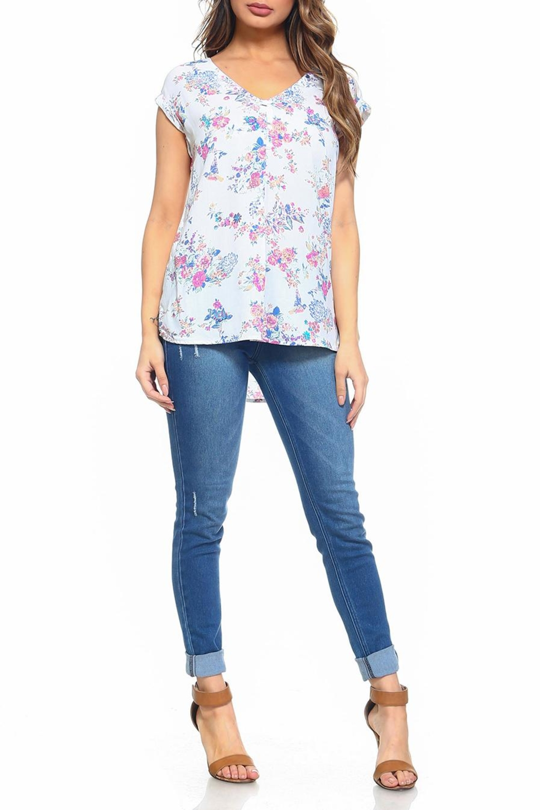 Maison Coupe Floral Top - Side Cropped Image