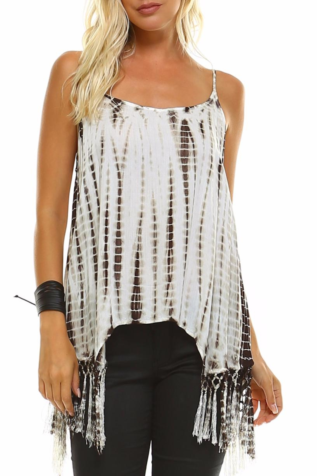 Maison Coupe Fringed Tie Dye Tank Top - Main Image