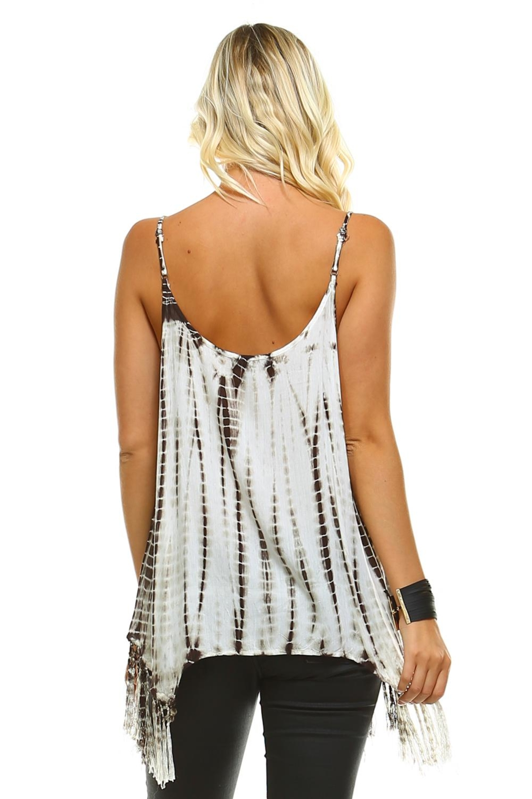 Maison Coupe Fringed Tie Dye Tank Top - Front Full Image