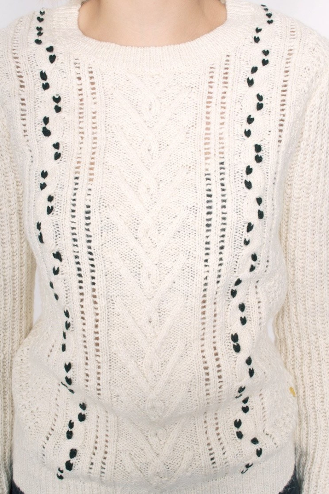 Maison Scotch Cable Stitched Sweater - Back Cropped Image