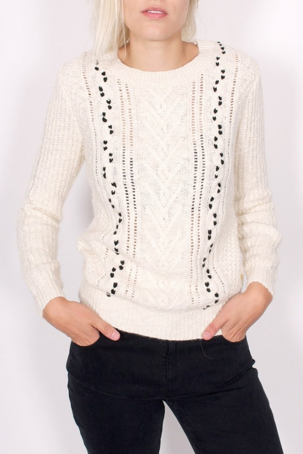 Maison Scotch Cable Stitched Sweater - Front Cropped Image