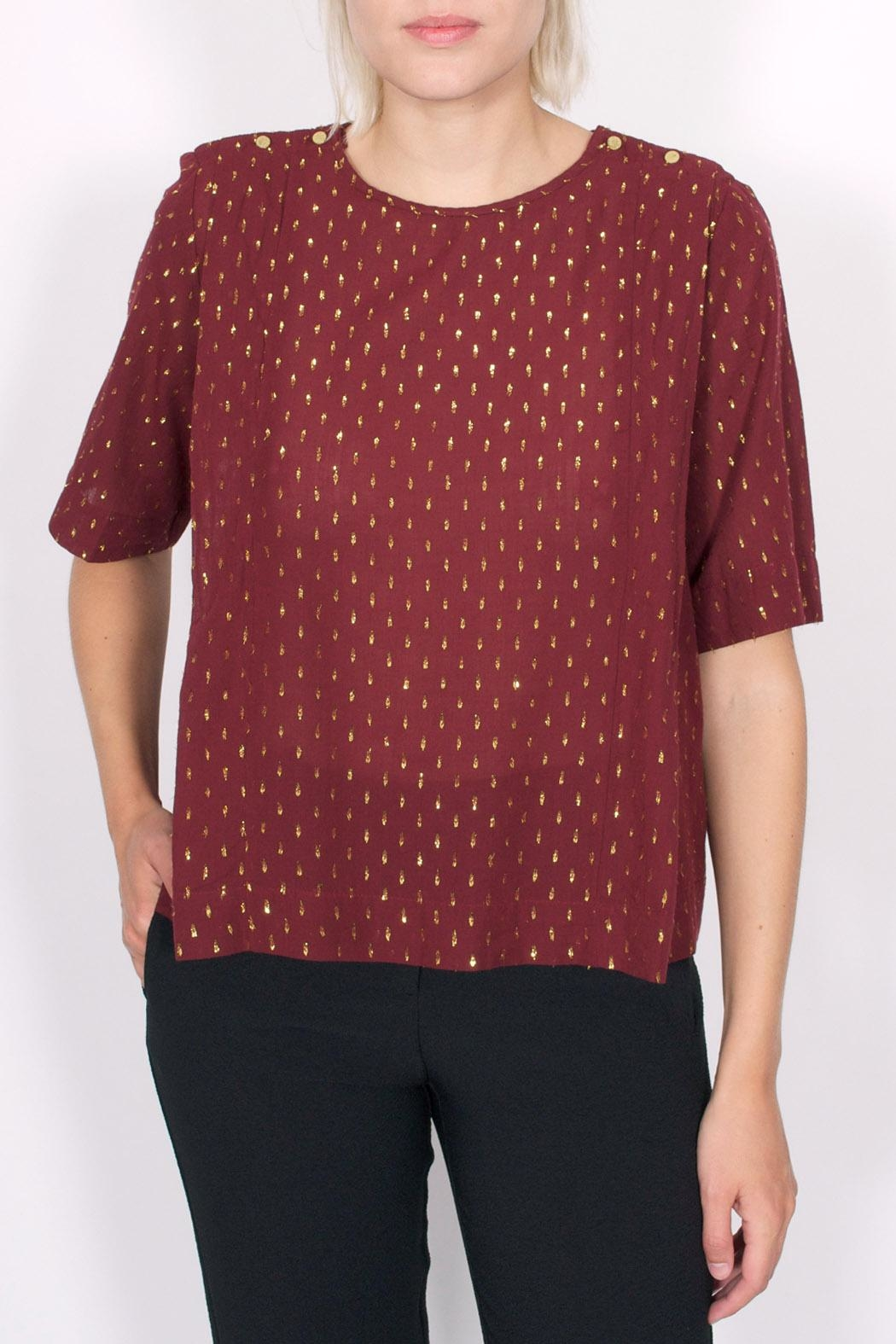 Maison Scotch Dobby Lurex Top - Front Cropped Image