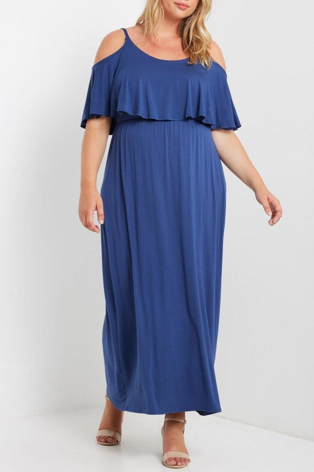 MaiTai Blue Flutter Maxi Dress - Front Cropped Image