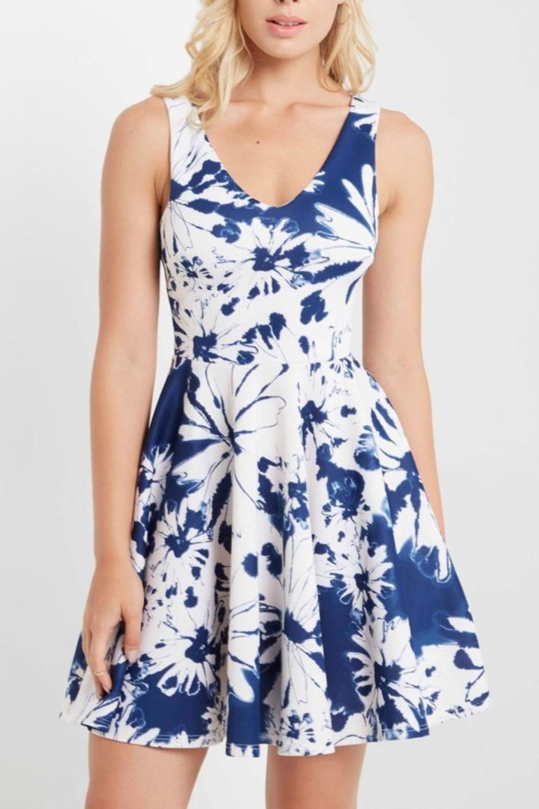 MaiTai Floral Fit/Flare Dress - Side Cropped Image