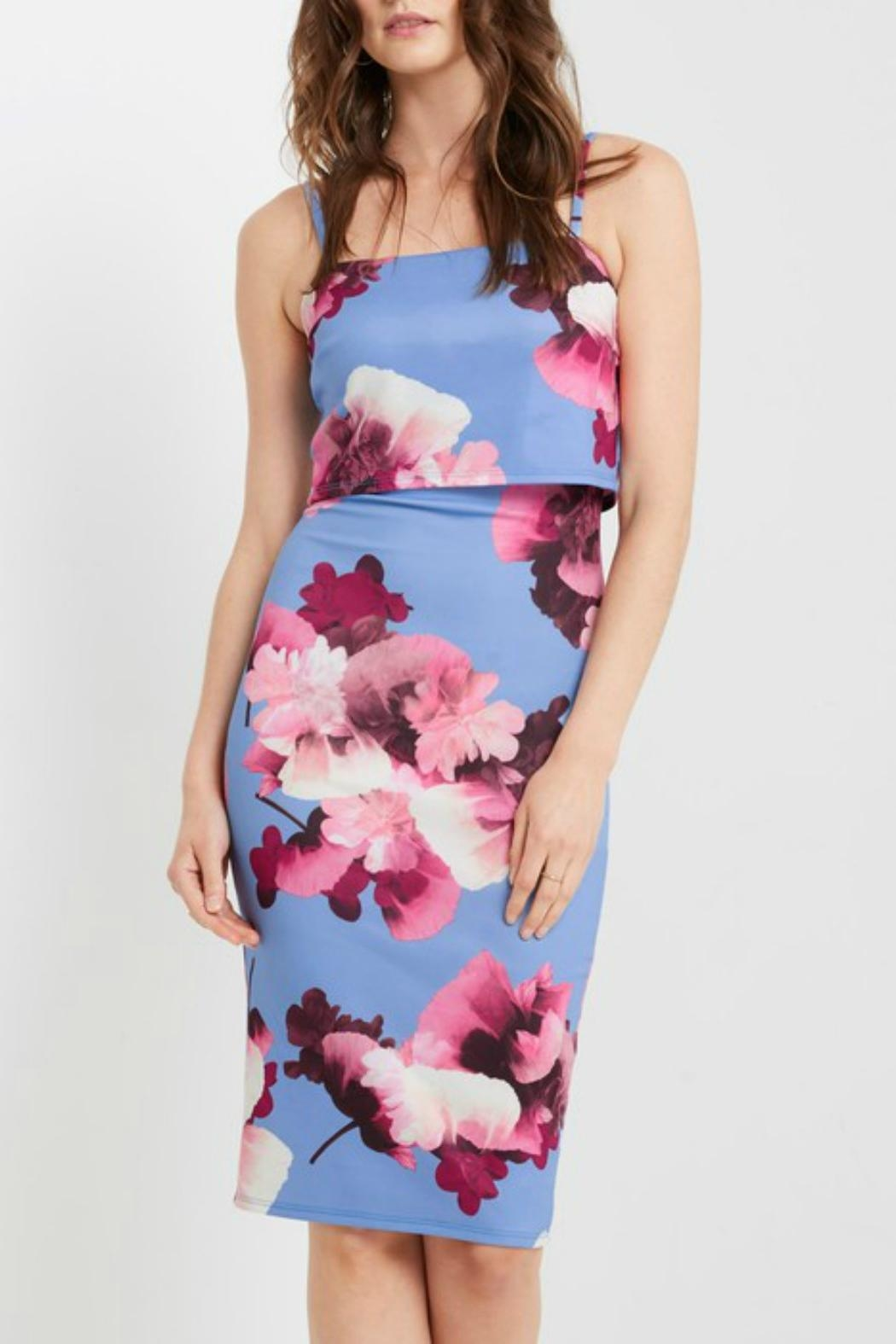 MaiTai Floral Midi Dress - Front Cropped Image