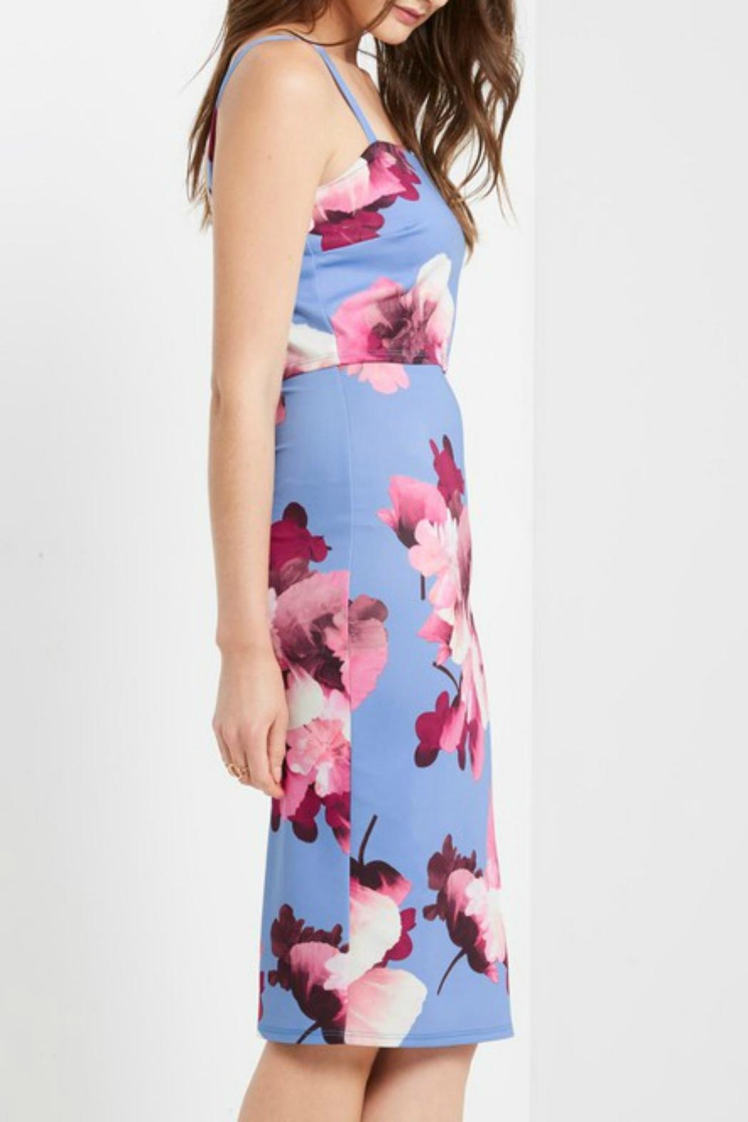 MaiTai Floral Midi Dress - Side Cropped Image