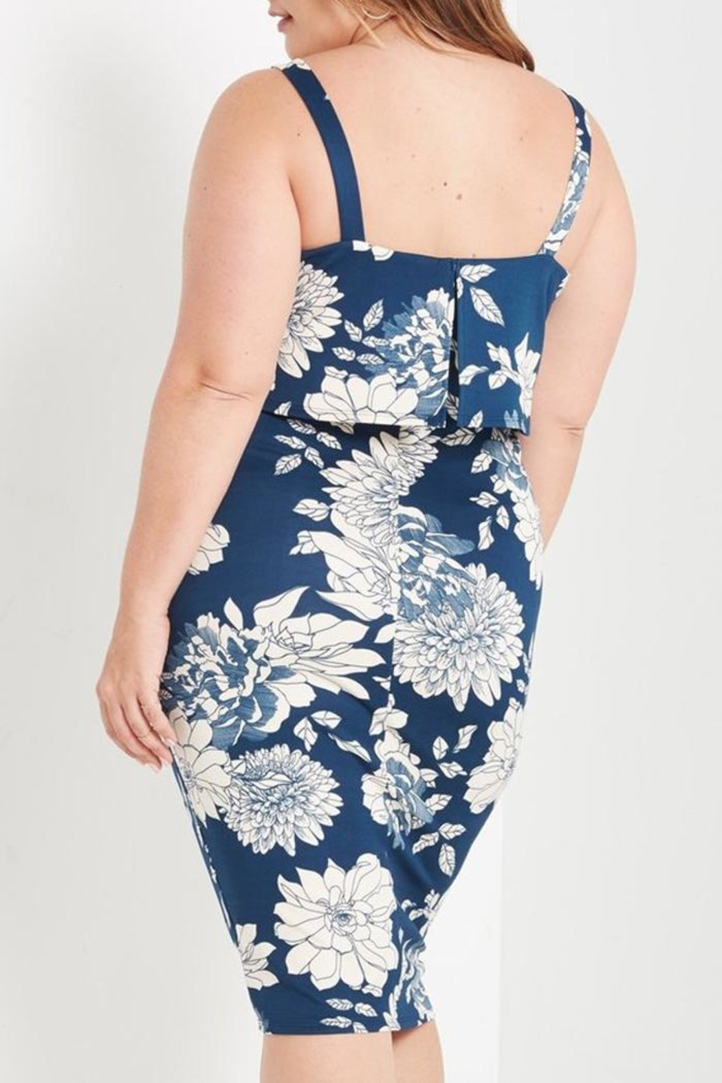 MaiTai Floral Midi Dress - Back Cropped Image