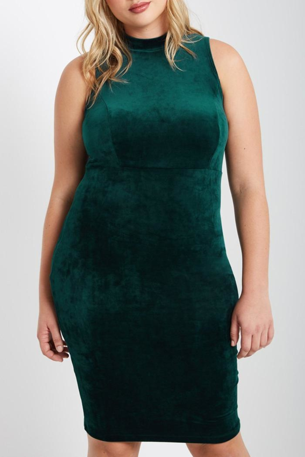 MaiTai Green Velvet Dress - Front Full Image